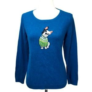Talbots Petites French Bulldog Sweater Frenchie